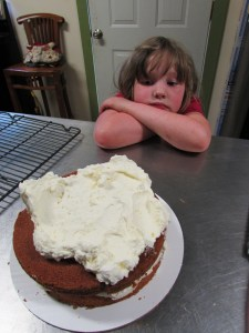 Waiting is the hardest part of cake making, especially when you are five.