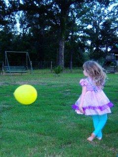 Chasing balloons.