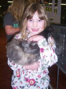 Addie and our now-departed Silkie at the Livestock Show 3 months ago.