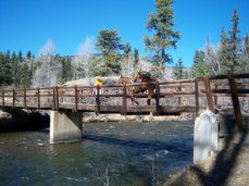 Me leading Tater and my elk over the wilderness bridge.