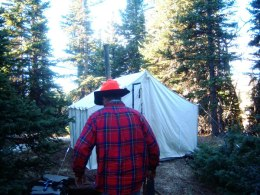 Tent at 11,000 ft. Note the toilet paper on the hat!
