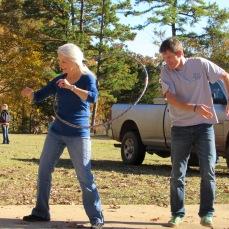 Stu throwing off his mom's hoop streak!