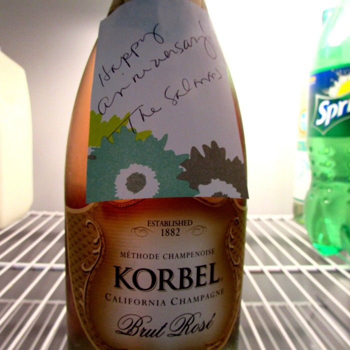 Always pleasant to be greeted by a bottle of bubbly, thanks Scott and Melissa!